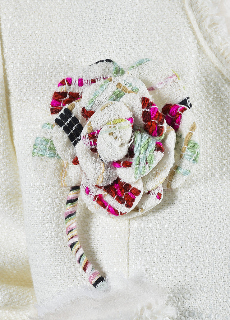 White Chanel Tweed Chiffon Flower Pin High Low Lady Jacket Detail