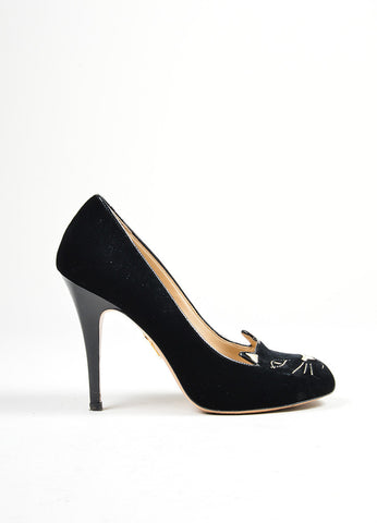 "Black and Metallic Gold Charlotte Olympia Velvet ""Kitty"" Embroidered Pumps Sideview"