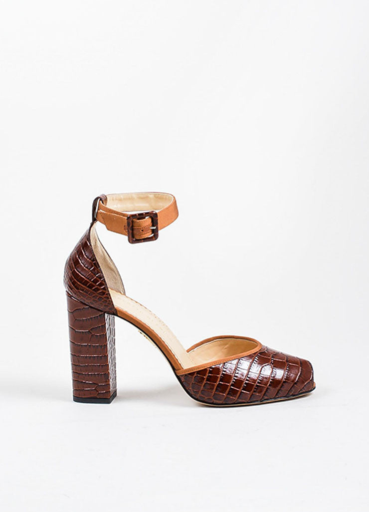 "Brown Charlotte Olympia Croc Embossed  ""Renee"" Ankle Strap Heels Sideview"