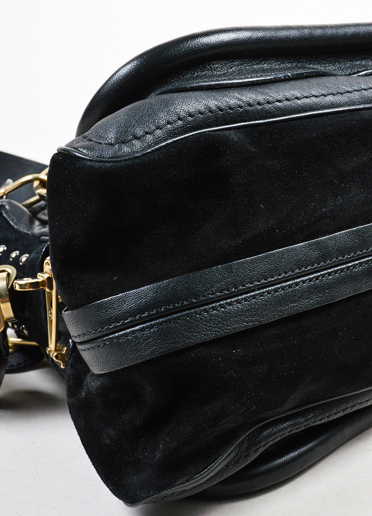 "Black and Gold Toned Chloe Leather and Suede Studded Medium ""Paraty Military"" Bag Detail"