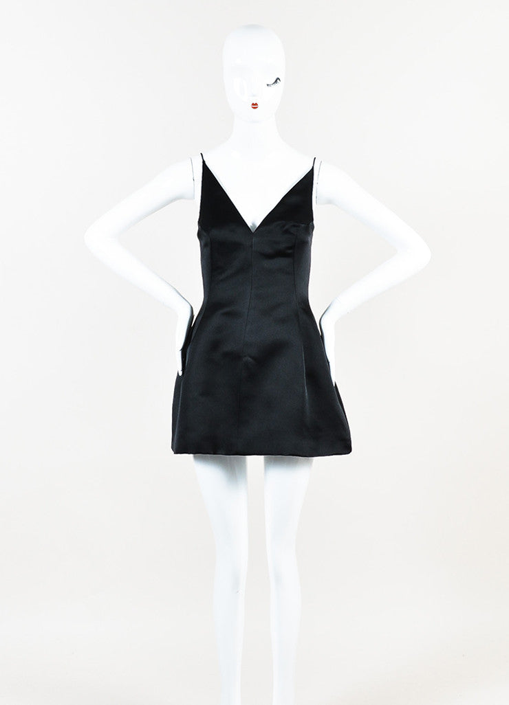 Christian Dior Black Silk Spaghetti Strap Fit and Flare Structured Dress Frontview
