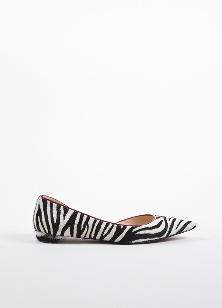 Christian Louboutin Black, White, and Red Leather Pony Hair d'Orsay Zebra Flats Sideview