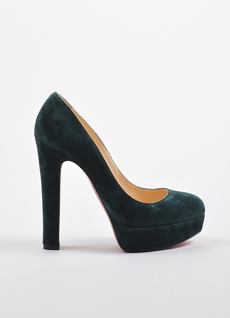 "Christian Louboutin Forest Green Suede Platform ""Bibi"" Pumps Sideview"