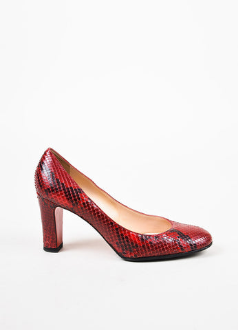 Christian Louboutin Red and Black Python Round Toe Pumps Sideview