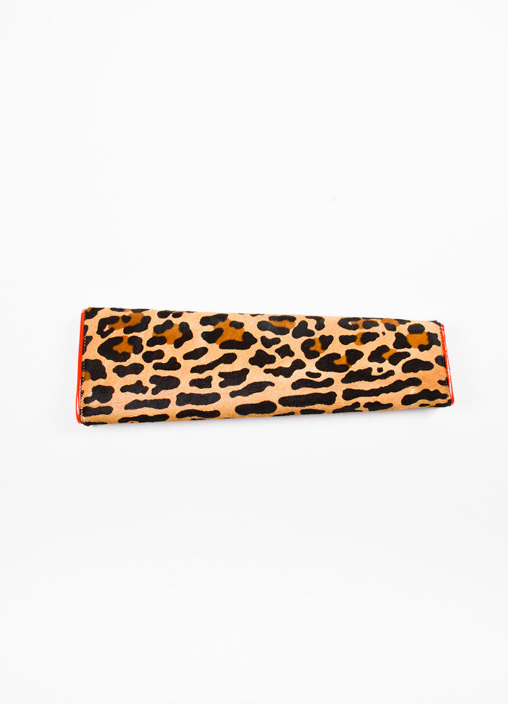 Christian Louboutin Tan, Brown, and Red Pony Hair Leather Leopard Print Long Clutch Bag Backview
