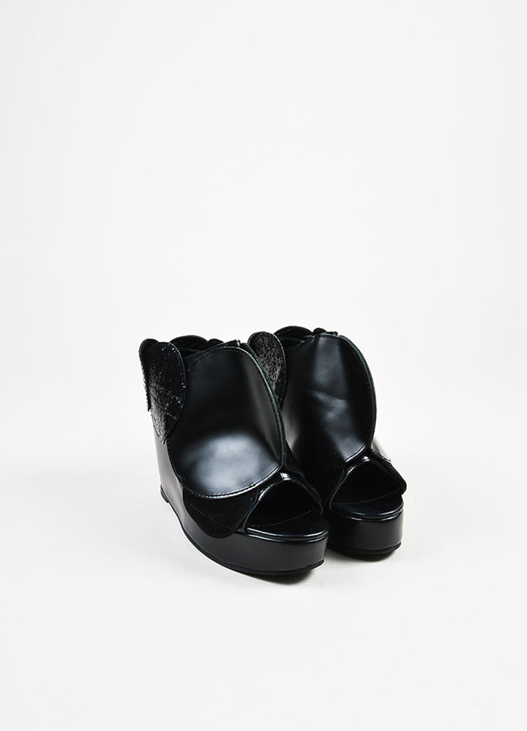 Junya Watanabe Comme des Garcons Black Leather Circle Open Toe Wedges Frontview