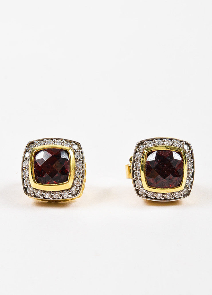 "David Yurman 18K Yellow Gold, Garnet, and Pave Diamond ""Petite Albion"" Earrings Frontview"