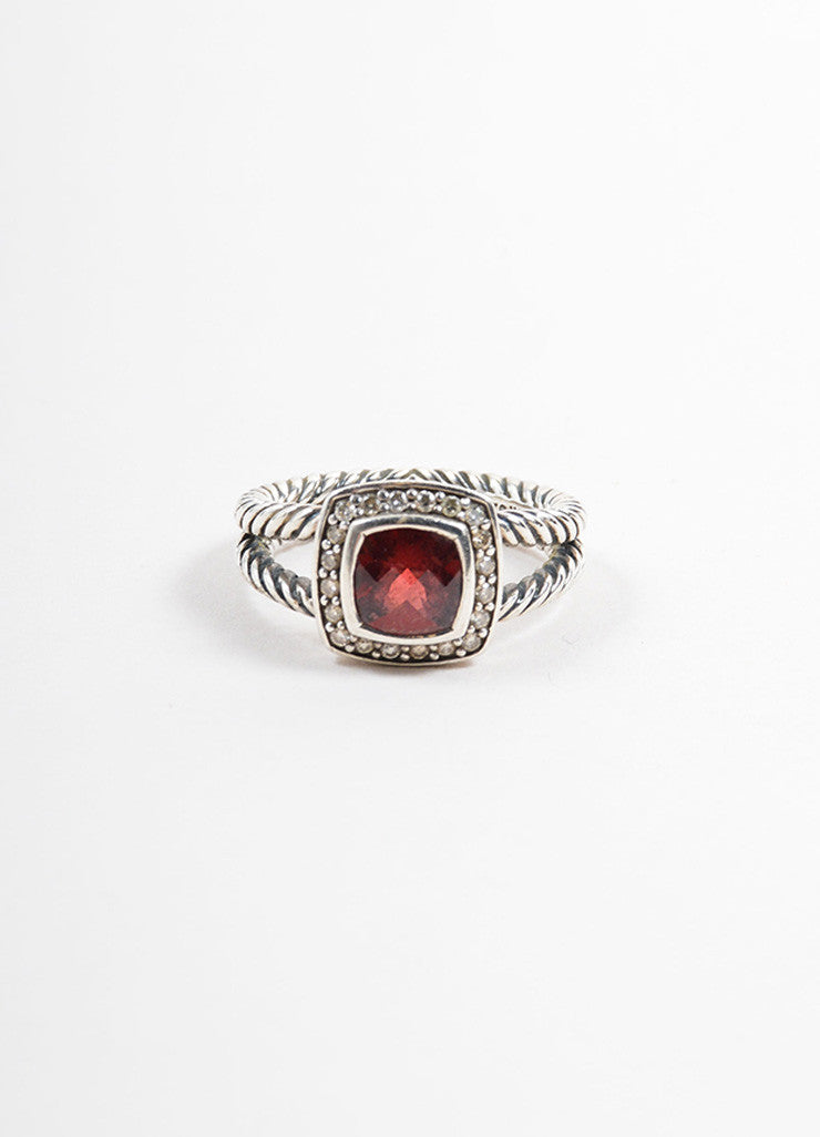 "David Yurman Sterling Silver and Red Garnet Pave Diamond ""Petite Albion"" Ring Frontview"
