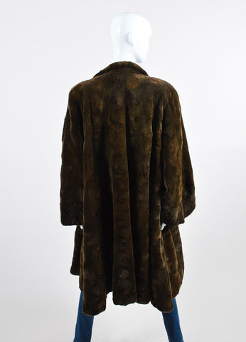 Dark Green Dennis Basso Sheared Fur Coat Backview