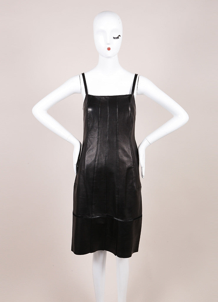 Derek Lam Black Leather Spaghetti Strap Dress Frontview