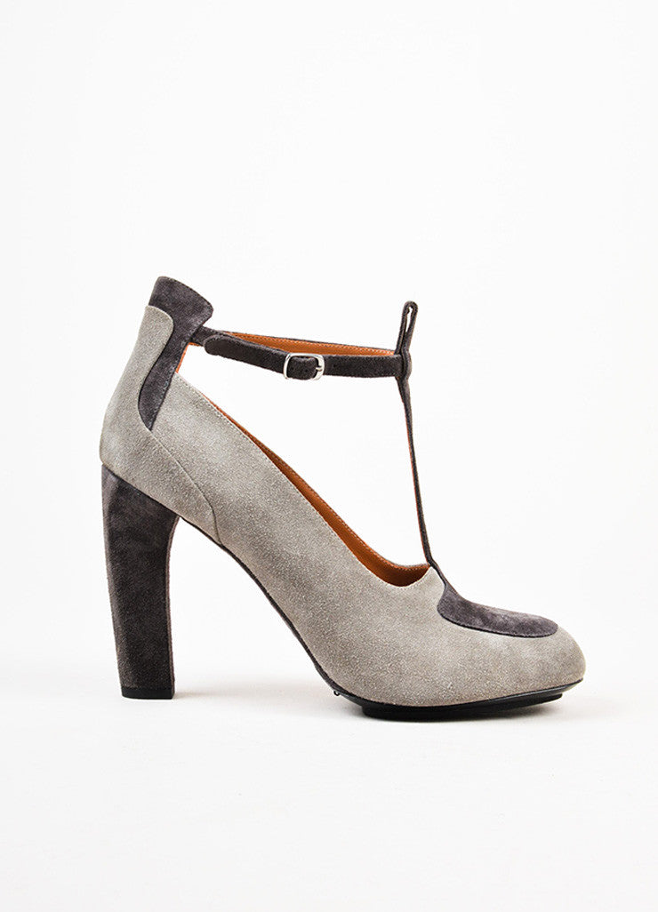 Dries Van Noten Grey Suede Two Tone Color Block T-Strap High Heel Pumps Sideview