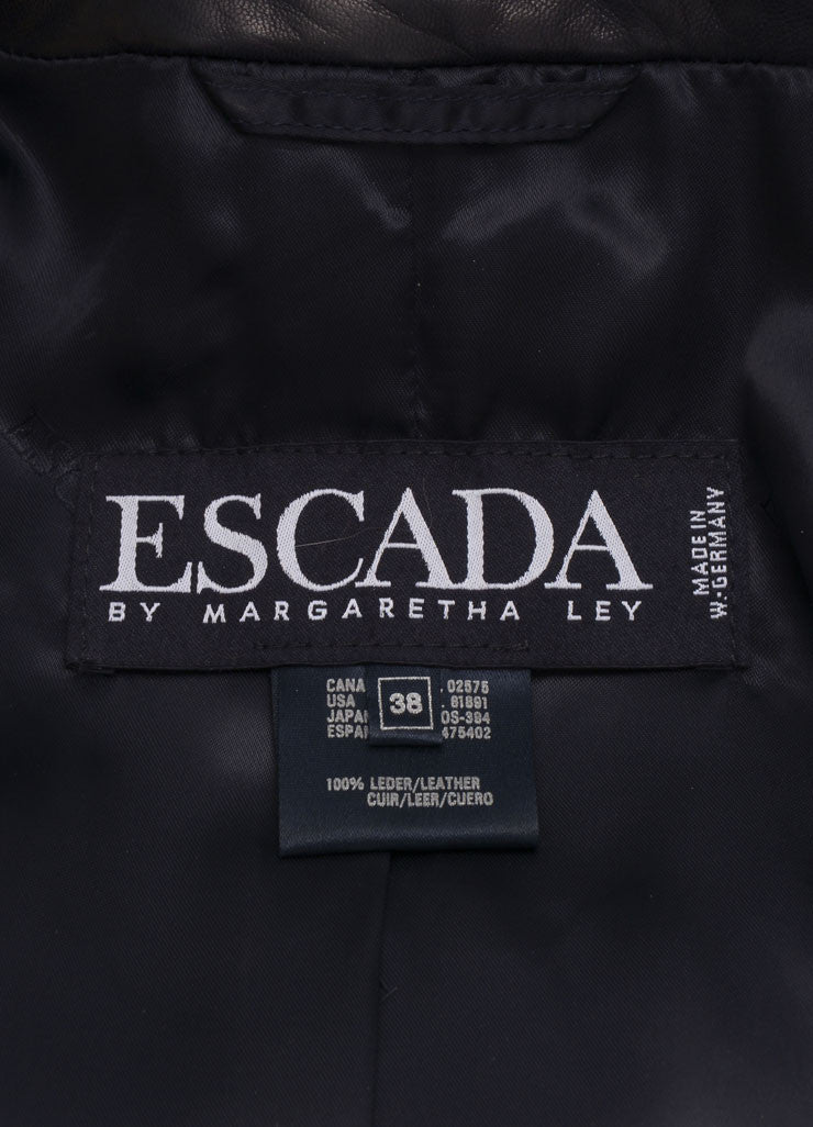 Escada Black and Gold Leather Star Embroidered Jacket Brand