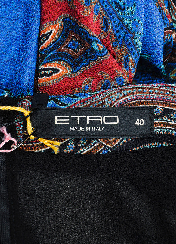 Blue and Multicolor Etro Silk Chiffon Paisley Print V-Neck Long Sleeve Dress Brand
