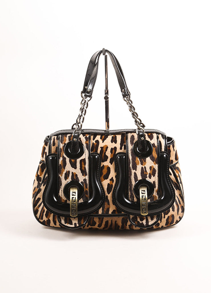 "Fendi Black and Brown Patent Leather Leopard Pony Hair ""B."" Double Buckle Bag Frontview"