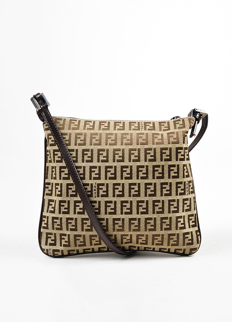 "Fendi Brown and Tan Canvas ""Zucca"" Square Cross Body Bag Frontview"