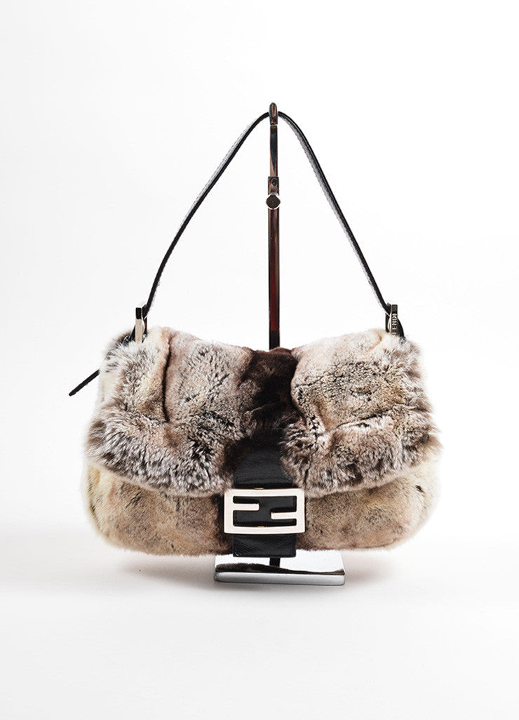 Fendi Grey Black Fur Baguette Shoulder Bag Frontview