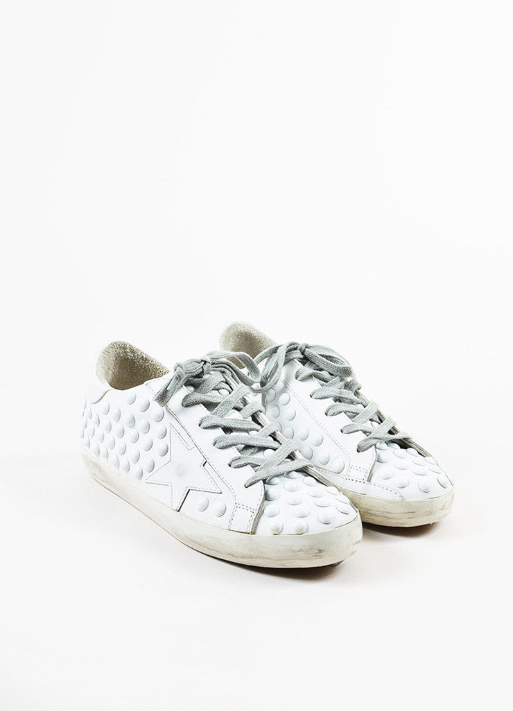 Golden Goose Deluxe Brand White Leather Studded Superstar Sneakers Frontview