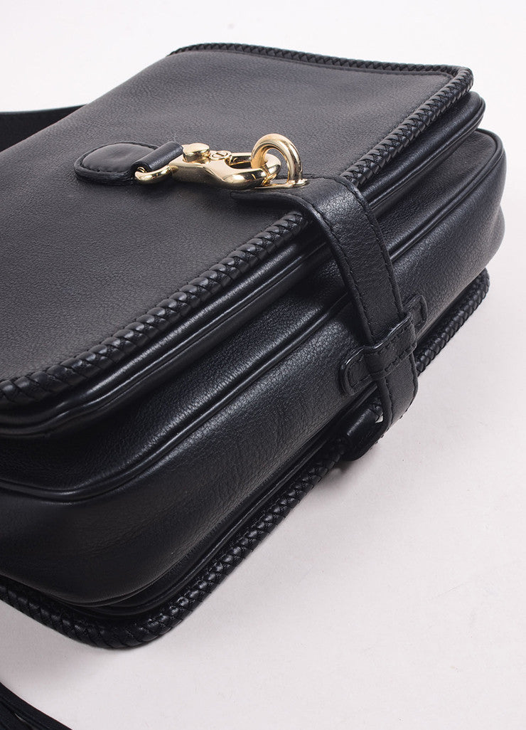 "Gucci Black Leather ""GG"" Tassel Flap ""Marrakech"" Messenger Bag Bottom View"