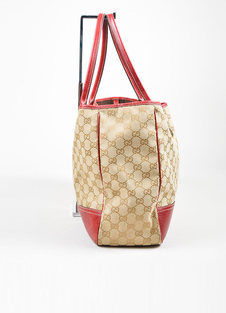 "Beige and Red Gucci Canvas and Leather Monogram ""Princy"" Tote Bag Sideview"