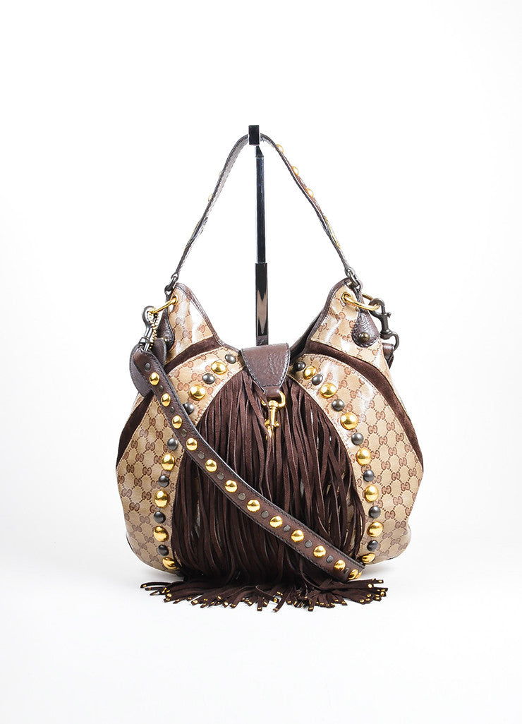 Brown and Tan Gucci Coated Canvas 'GG' Monogram Crystal Babouska Large Indy Hobo Bag Frontview