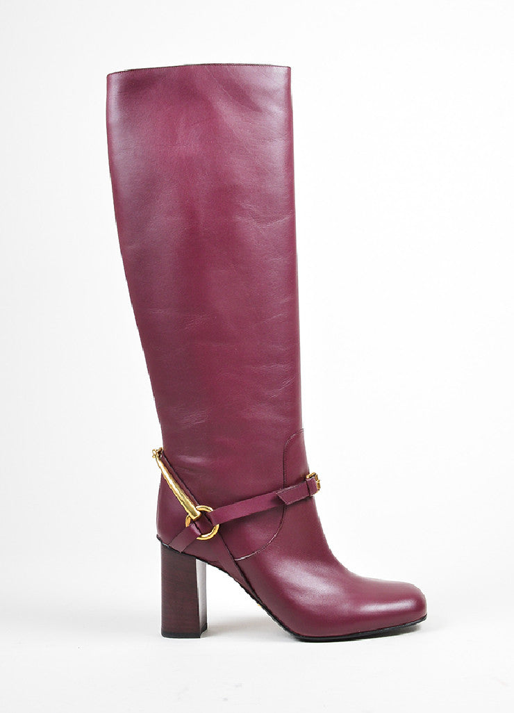 "Burgundy Gucci Leather Gold Toned Horsebit Tall ""Lifford"" Boots Sideview"