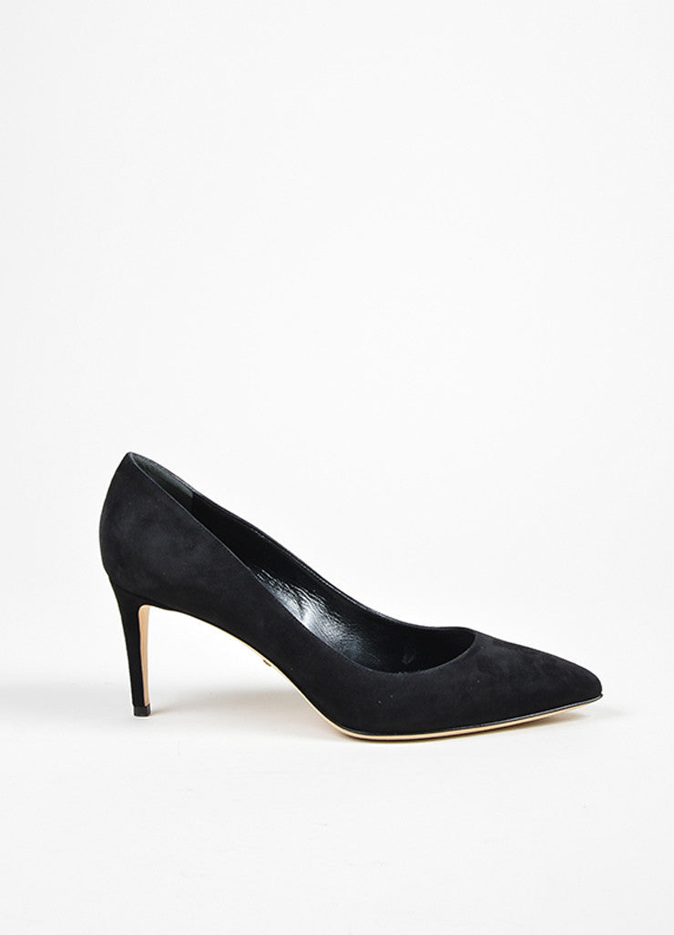 "Gucci Black Suede Pointed Toe ""Brooke 75mm"" Pumps Sideview"