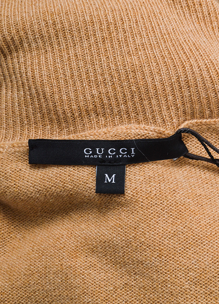 Gucci Tan Cashmere Long Sleeve Turtleneck Oversized Sweater Brand