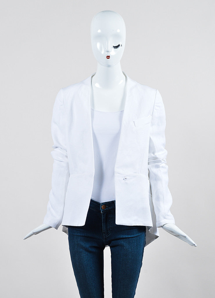 White Haider Ackermann Mixed Material Blazer Jacket Frontview