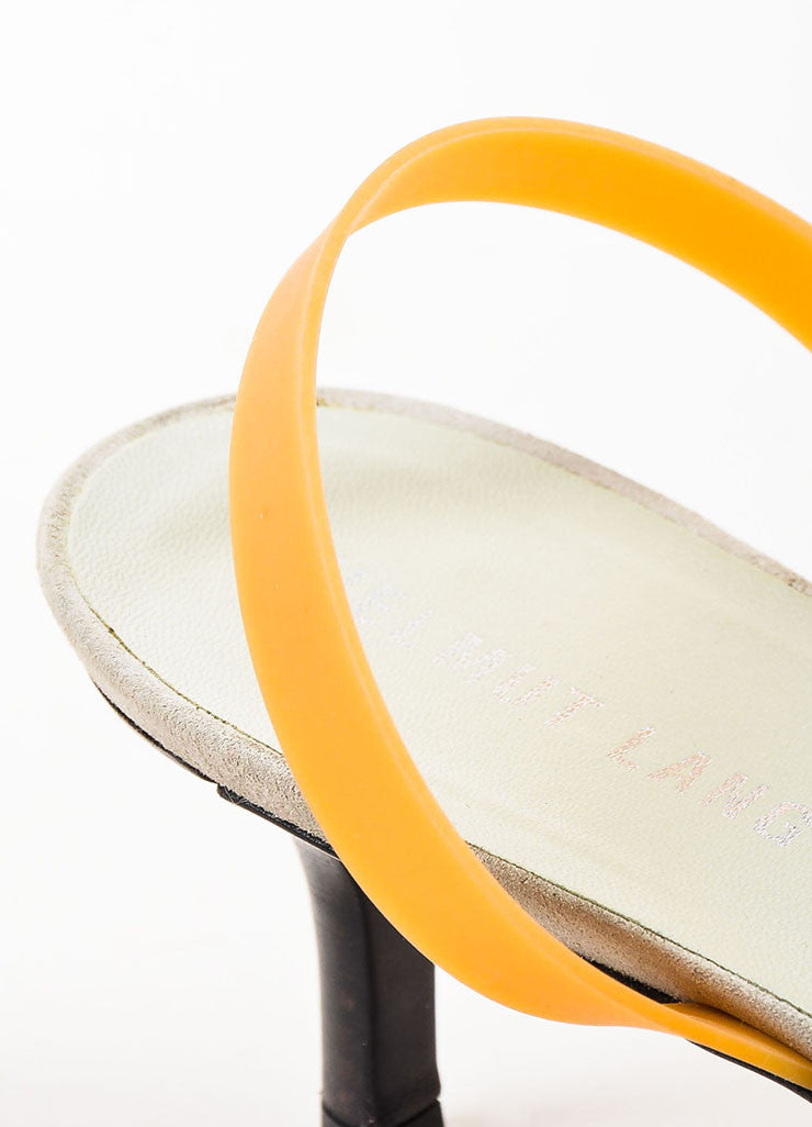 Helmut Lang White, Dove Grey, and Tan Suede Rubber Slingback Kitten Heels Detail