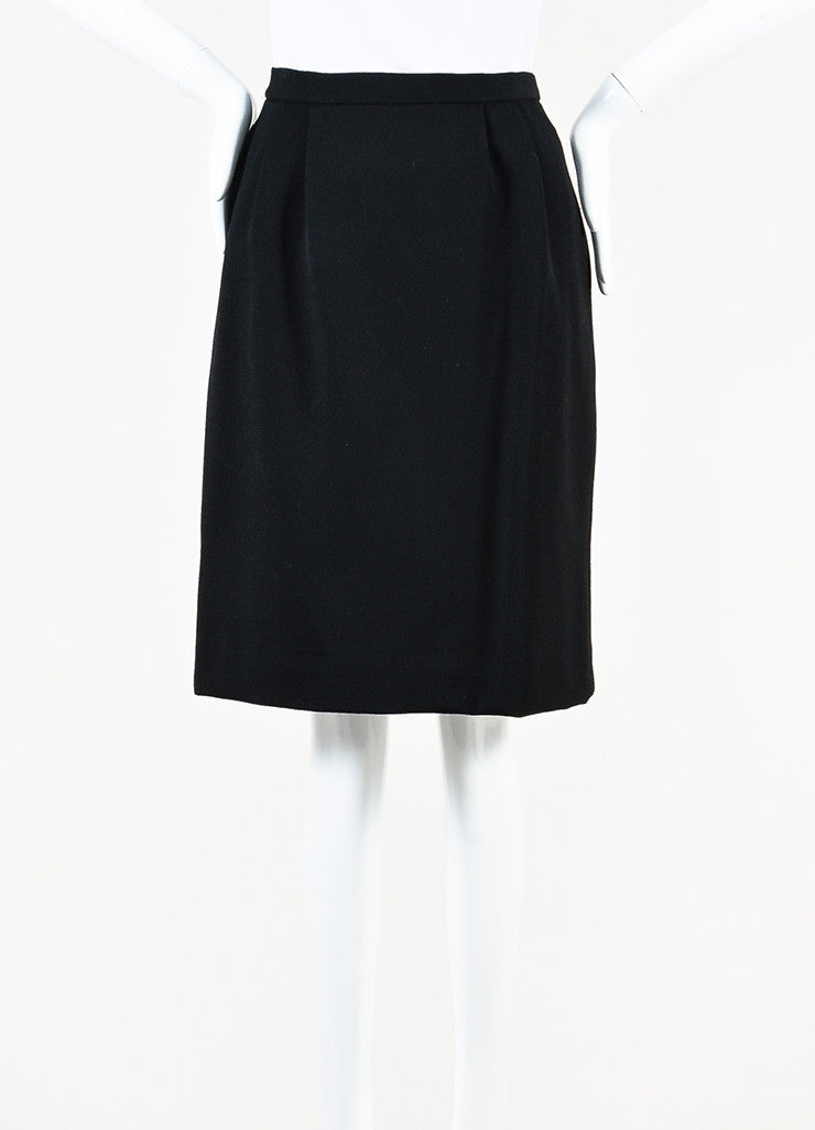 Hermes Black Wool Velvet Logo Button Pleated Pencil Skirt back