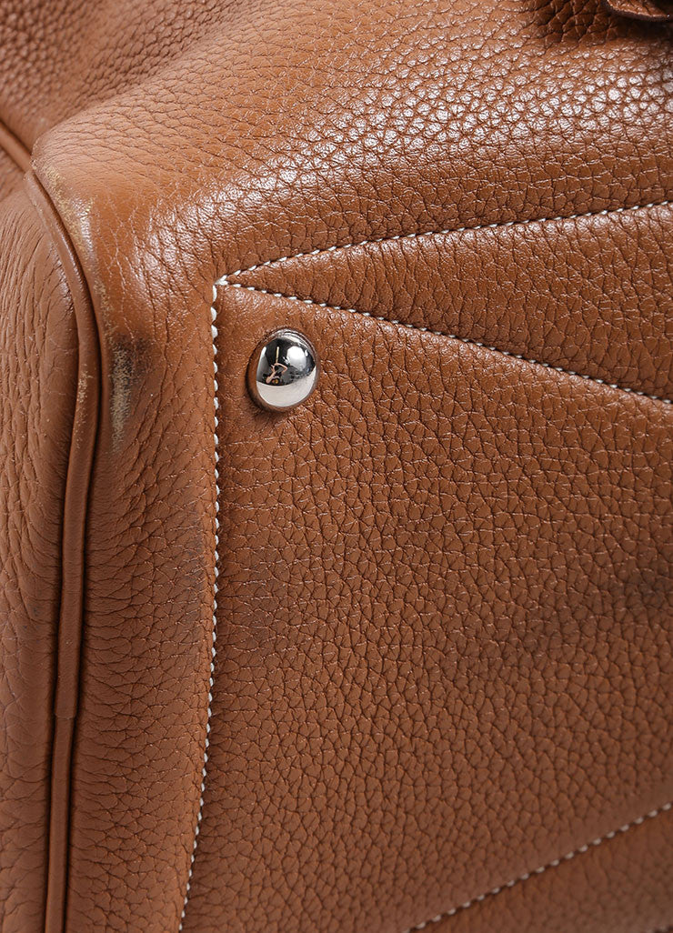 "Hermes Brown Clemence Leather ""Victoria"" Satchel Bag Detail"