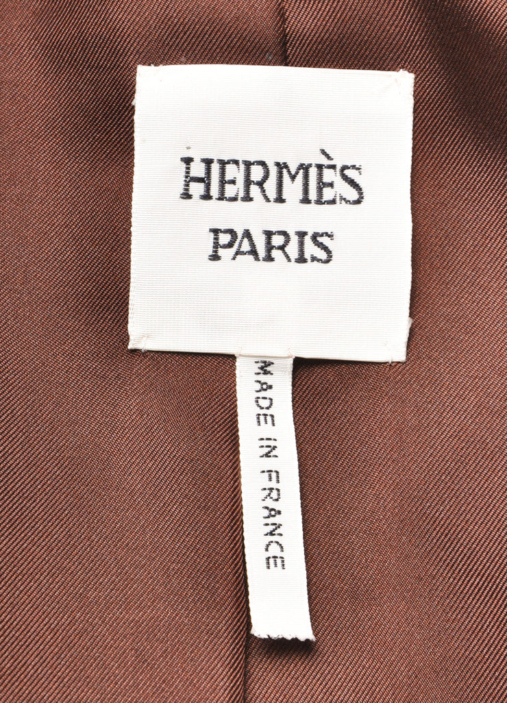 Hermes Chocolate Brown Pebbled Leather Long Sleeve Jacket Brand