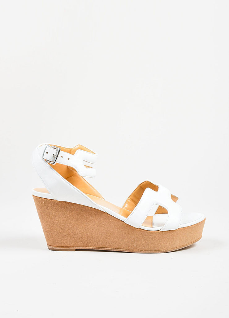 White Hermes Leather Suede Ankle Strap Platform Wedge Sandals Sideview