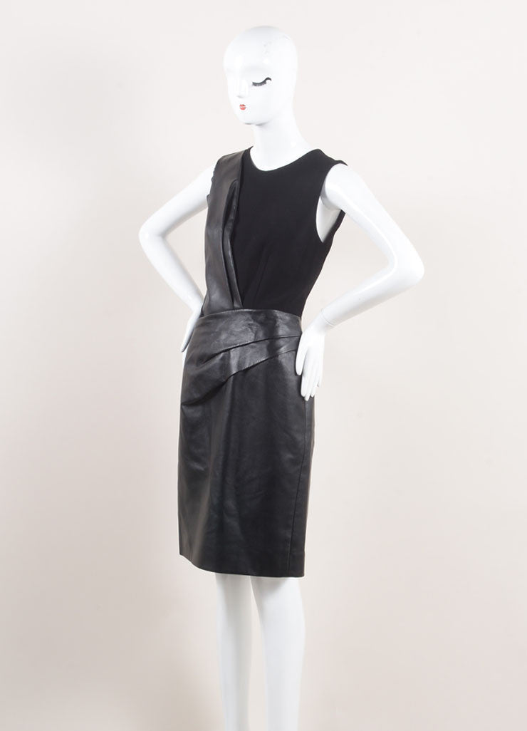 J. Mendel New With Tags Black Leather and Wool Crepe Contrast Pleated Sheath Dress Sideview