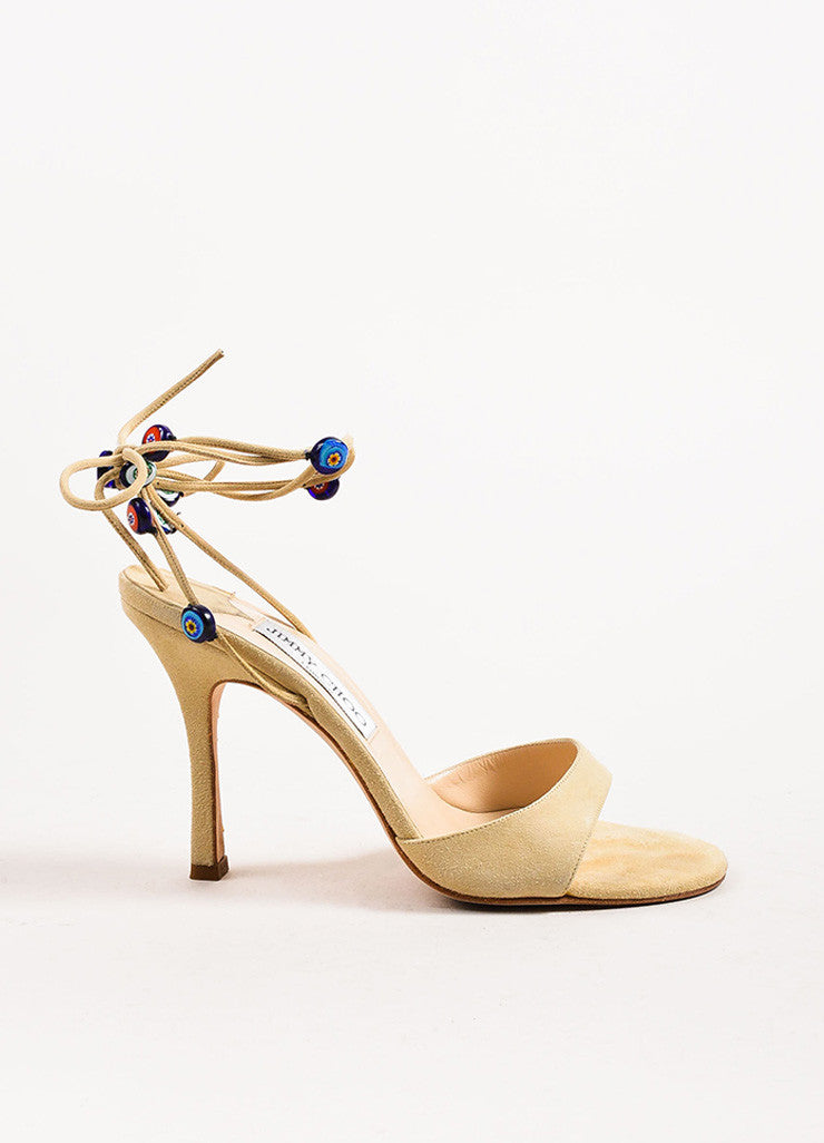 Jimmy Choo Beige Multicolor Beaded Wrap Sandal Heels Sideview
