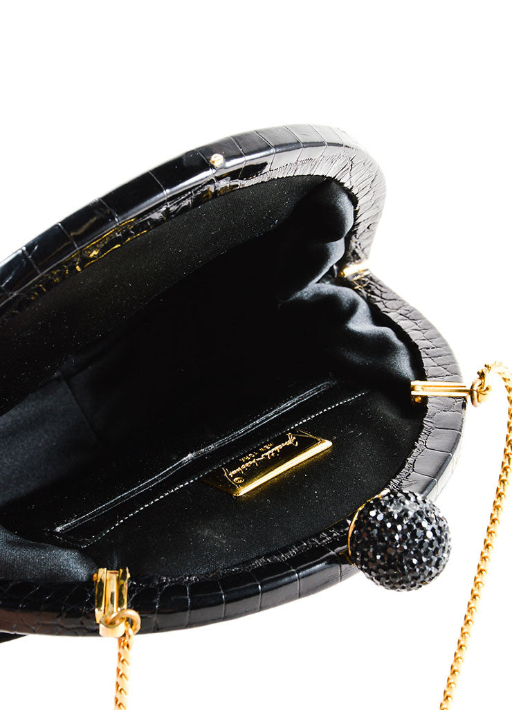 Judith Leiber Black Alligator Leather Chain Strap Clutch Bag Interior