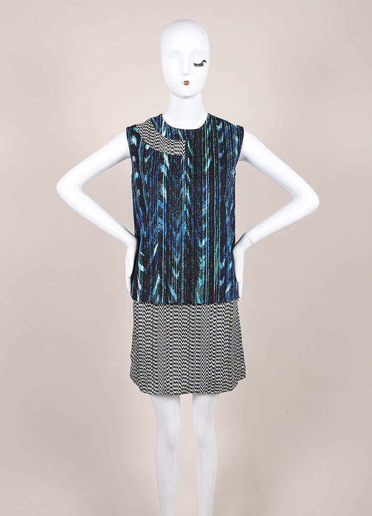 "Kenzo New With Tags Blue and Black ""Sapphire Distortion"" Print Sleeveless Shift Dress Frontview"