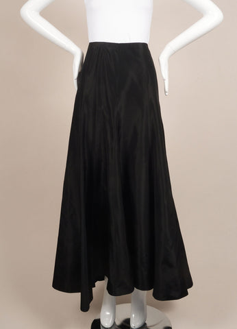 Kevan Hall Black Silk Taffeta Maxi Skirt Frontview