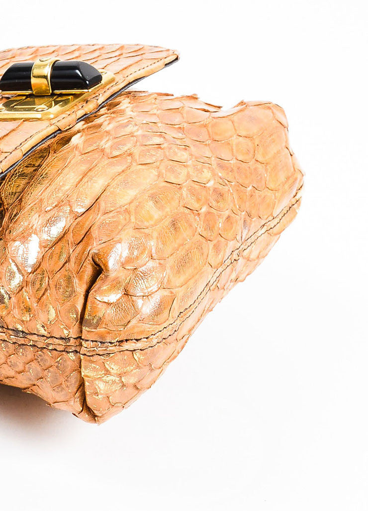 "Lanvin Blush, Tan, and Gold Toned Python Skin ""Happy Mini Pop"" Shoulder Bag Bottom View"