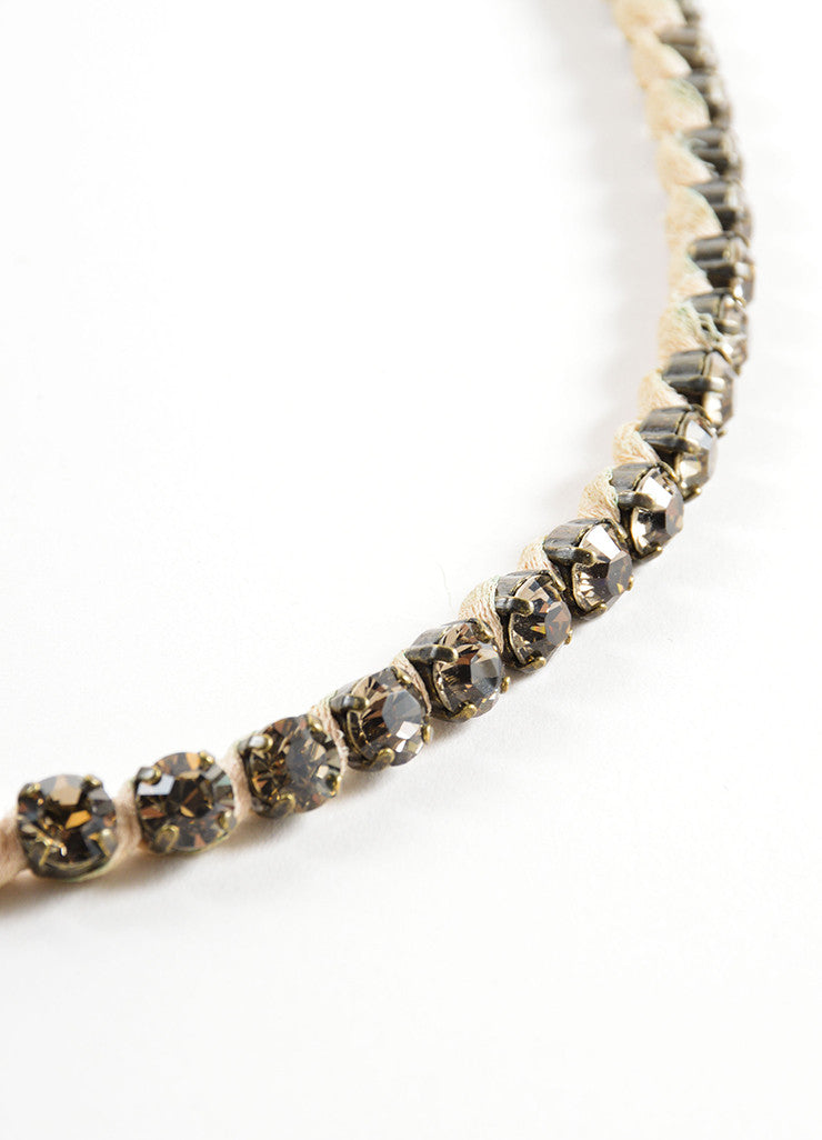 Lanvin Bronze Toned and Nude Tulle Ribbon Trim Chain and Crystal Necklace Detail