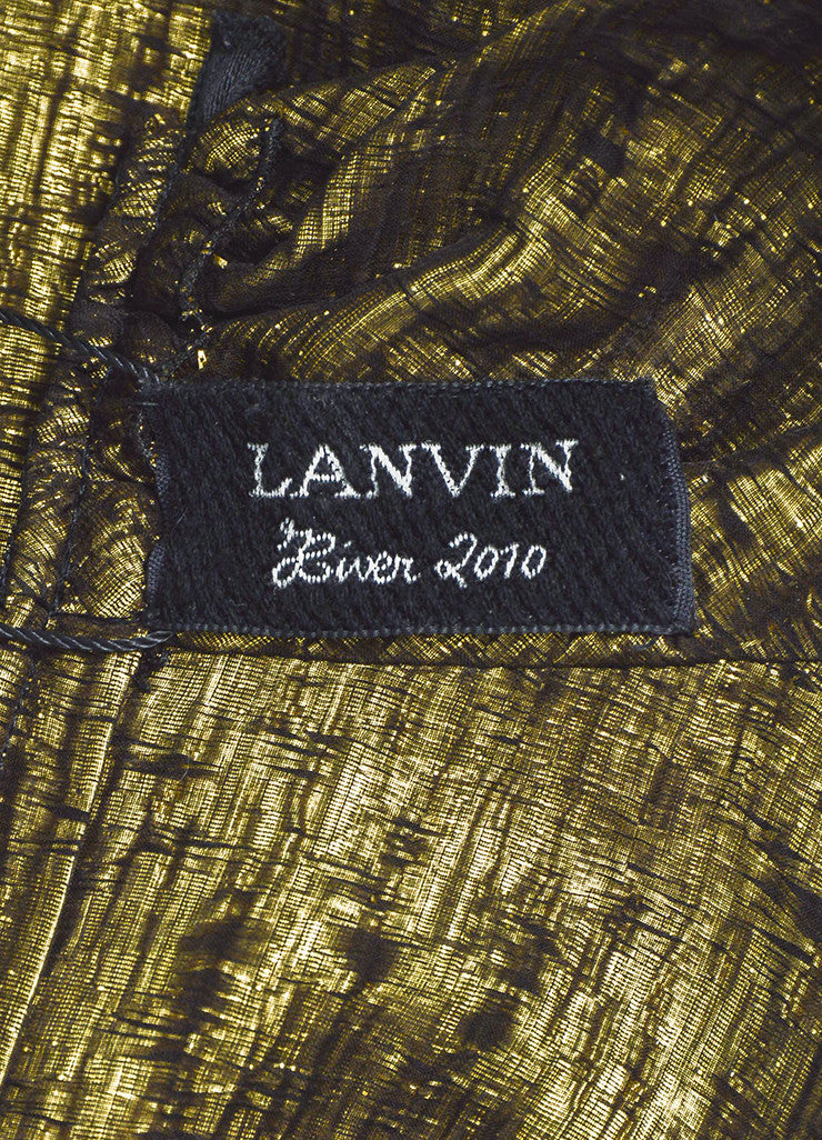 Lanvin Gold Metallic Textured Silk Lame Short Sleeve Neck Tie Blouse Top Brand