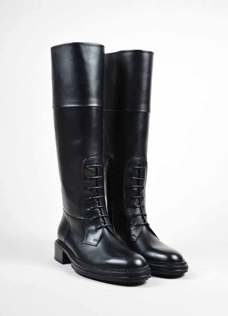"Lanvin Black Leather Lace Front Tall ""Military"" Boots Frontview"