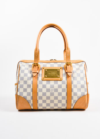 "Louis Vuitton Damier Azur Coated Canvas Leather Trim ""Berkeley"" Handbag frontview"