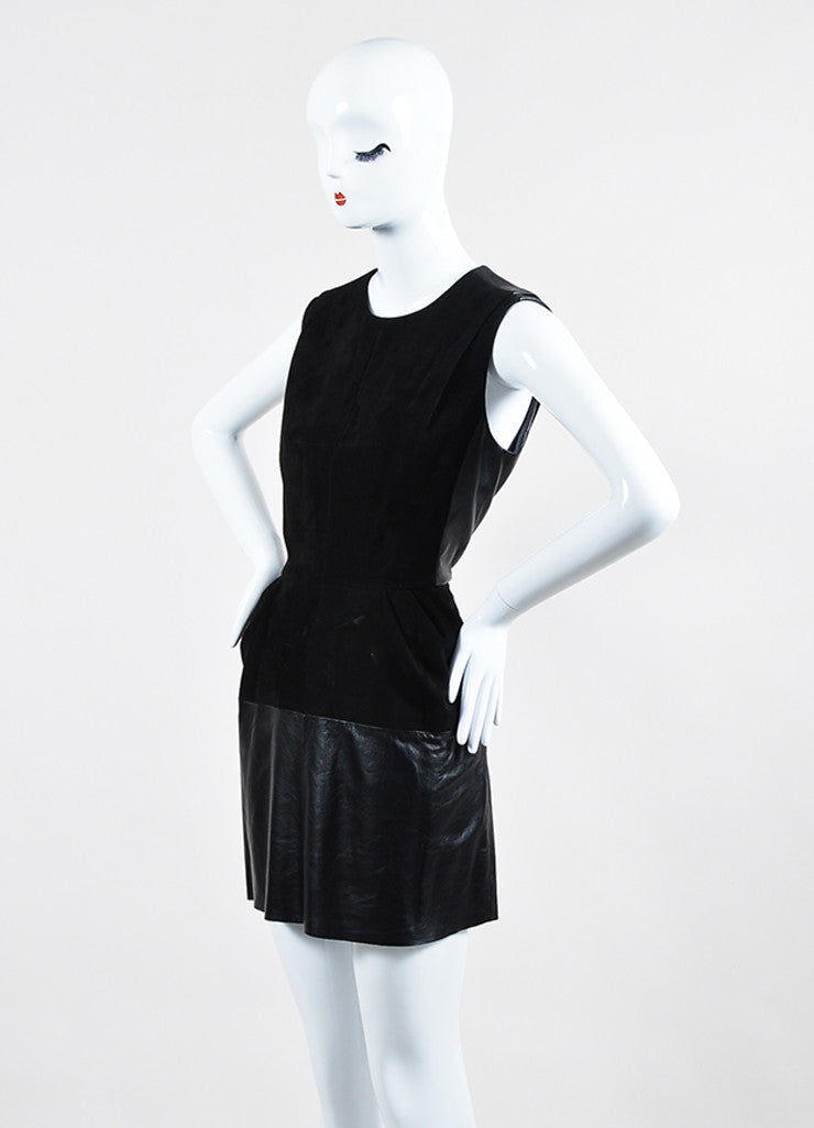 Black Louis Vuitton Leather Suede Panel Sleeveless Dress Sideview