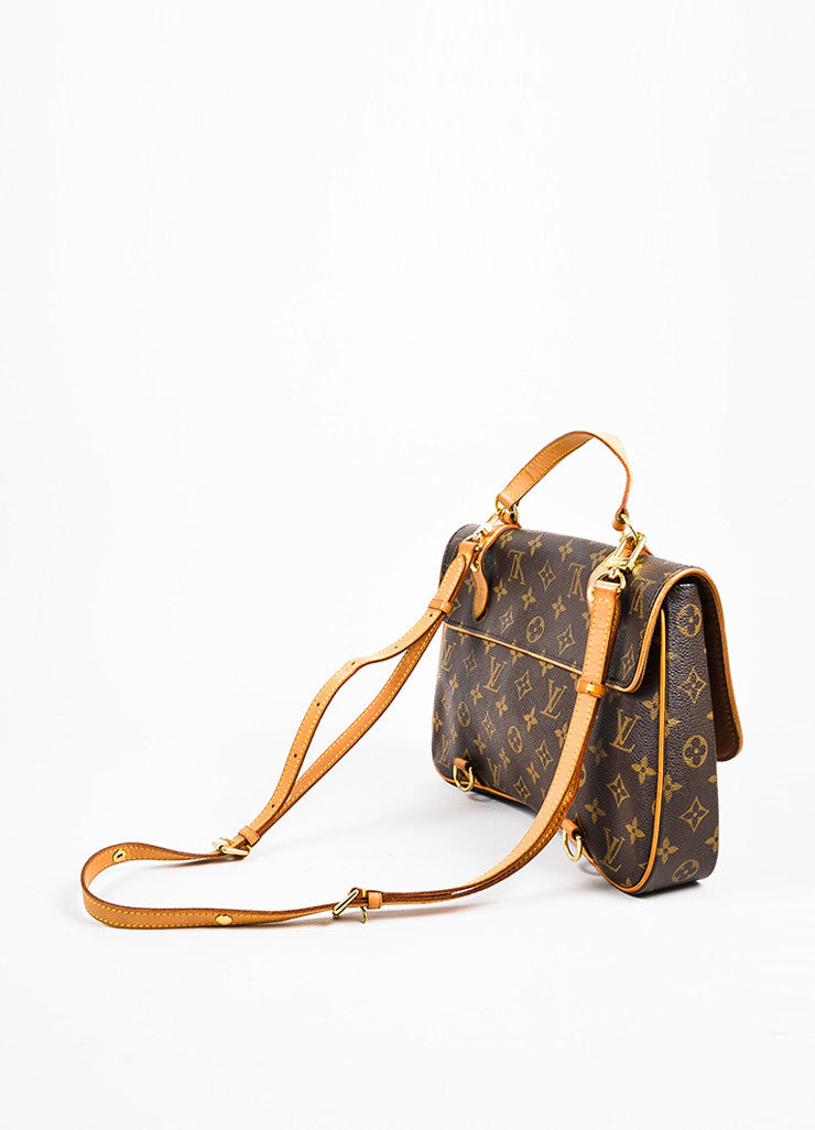 "Louis Vuitton Brown and Tan Coated Canvas Leather Monogram ""Marelle Sac a Dos"" Bag Sideview"