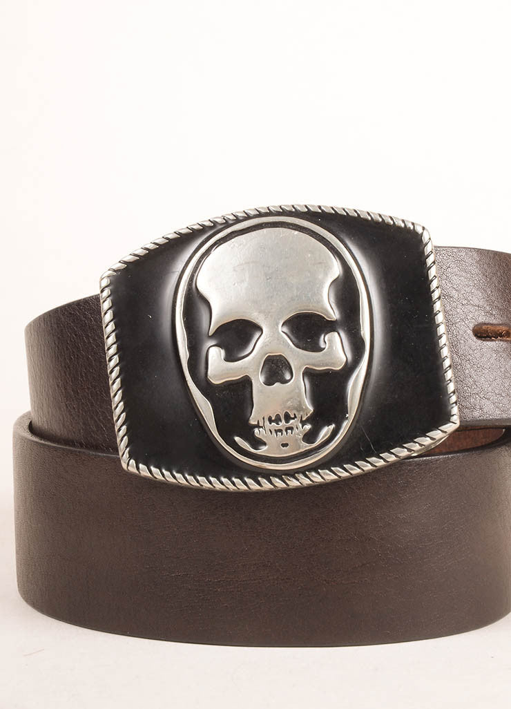 Lucien Pellat-Finet Brown and Black Leather Skull Buckle Belt Detail