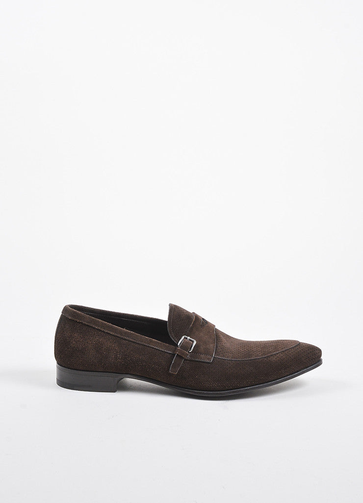 Men's Brown Prada Suede Perforated Buckle Loafers Side