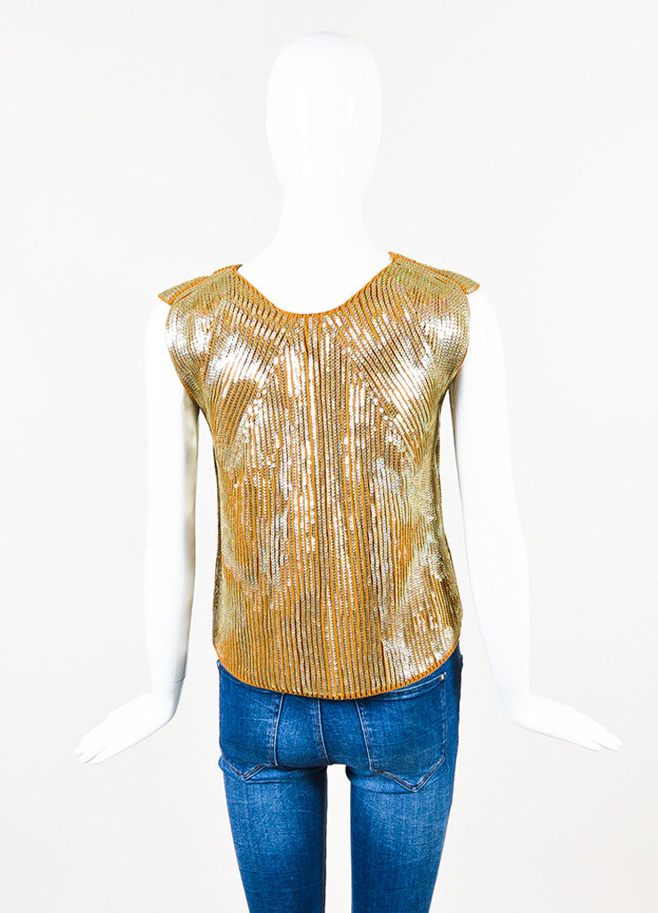 Maison Martin Margiela Tan Ribbed Knit Sequined Vest Backview