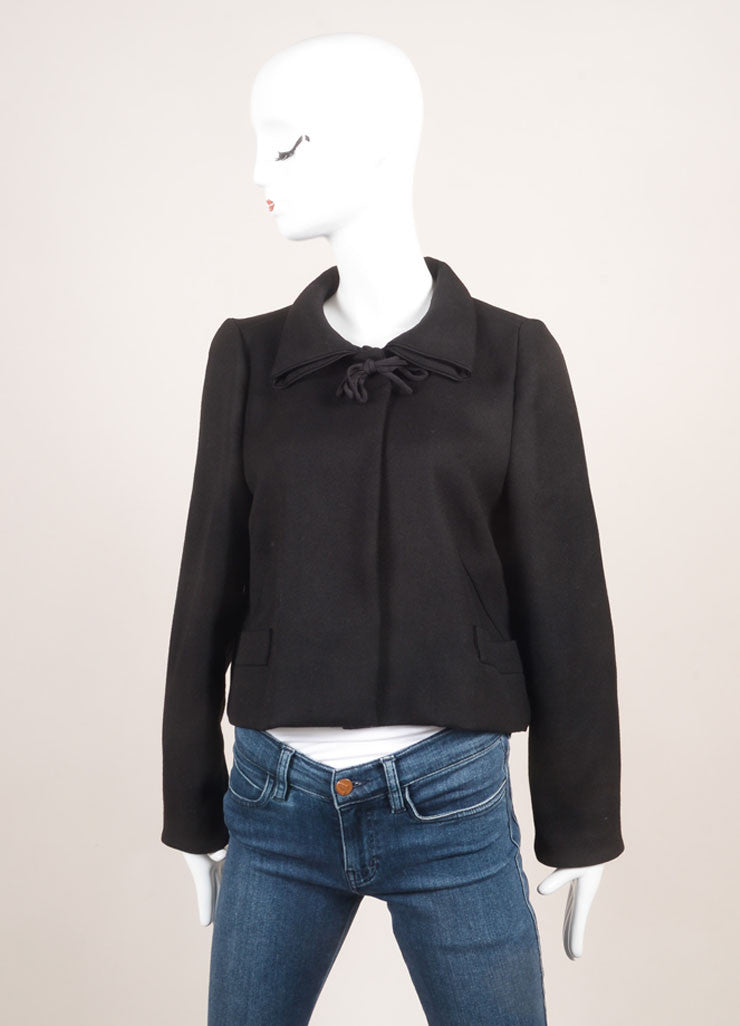 Marni Black Wool Bow Tie Cropped Long Sleeve Jacket Frontview