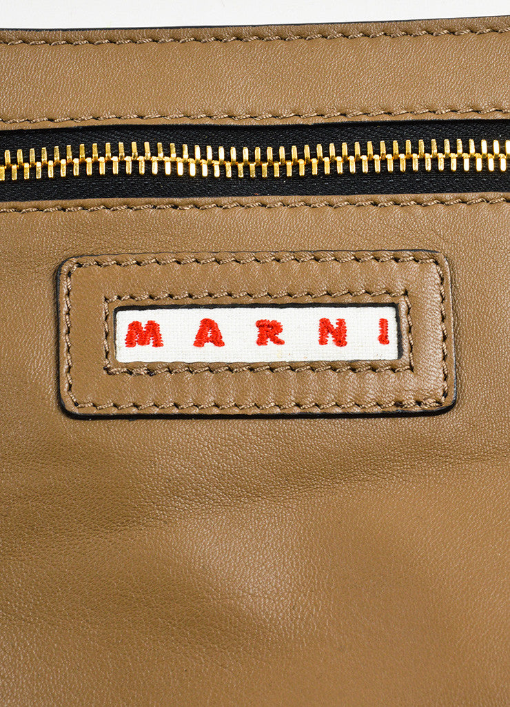 "Marni Yellow, Brown, and Grey Leather Colorblock ""Pod"" Fold Over Clutch Bag Brand"
